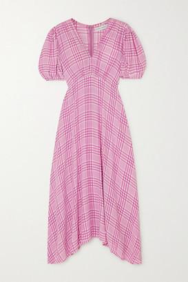 Faithfull The Brand Vittoria Checked Crepe Midi Dress - Lilac
