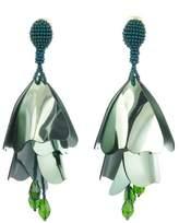 Oscar de la Renta Large Impatiens Flower Clip Earrings