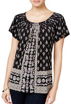 Style And Co. Style & Co. Printed Pleat-Neck Top Only at Macy's