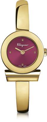 Salvatore Ferragamo Gancino Gold IP Stainless Steel Women's Watch w/Burgundy Dial