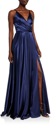 Faviana V-Neck Pleated Bodice Lace-Up Charmeuse Gown