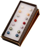 Bella Pearl White & Red Pearl Seven-Pair Stud Earrings Set