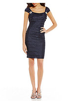 London Times Brooch-Detail Shutter Sheath Dress