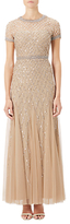 Adrianna Papell Petite Short Sleeved Beaded Godet Gown, Champagne