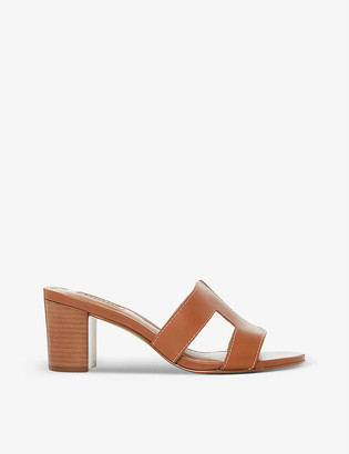 Dune Joupe cut out-strap leather heeled mules
