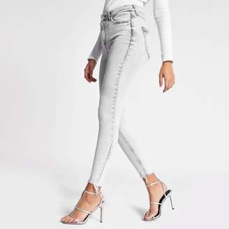 River Island Womens Grey Hailey high rise acid jeans