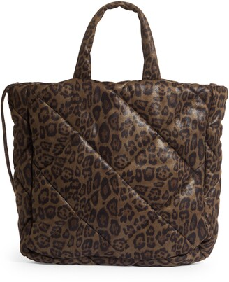 Stand Studio Assante Leopard Print Quilted Top Handle Bag