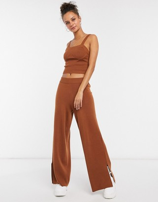 ASOS DESIGN co-ord knitted cami in brown
