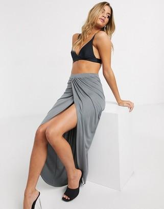 Asos DESIGN jersey wrap maxi skirt in charcoal