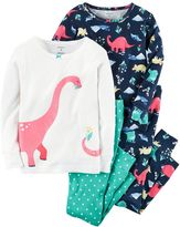 Carter's Girls 4-12 4-pc. Dinosaur Pajama Set
