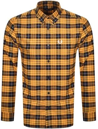 Fred Perry Tartan Long Sleeved Shirt Orange