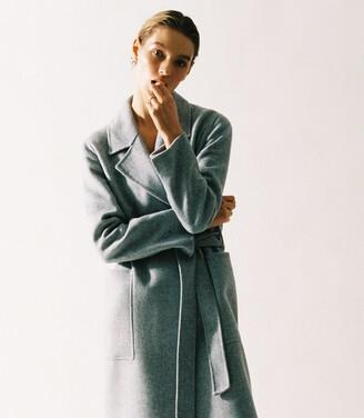 Reiss Millie - Wool Blend Longline Overcoat in Grey