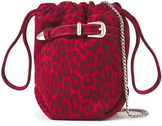 IRO Belty Buckled Leopard-print Suede Bucket Bag