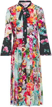 Mary Katrantzou Desmine Pussy-bow Floral-print Crepe De Chine Shirt Dress