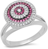 Simulated Diamond & Red Spinel Swirl Ring