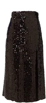 Gucci Hem-slit Sequinned Midi Skirt - Black
