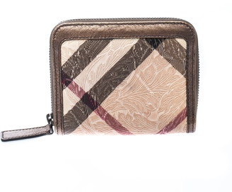 Burberry Bronze Floral Embossed Nova Check PVC and Leather Zip Around Compact Wallet