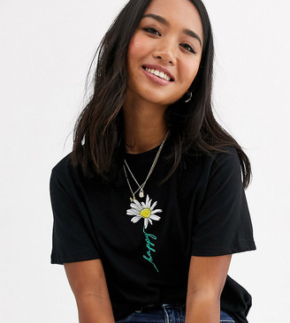 New Look Petite happy daisy tee in black