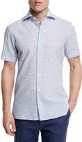 Ermenegildo Zegna Floral-Print Short-Sleeve Shirt, Light Blue