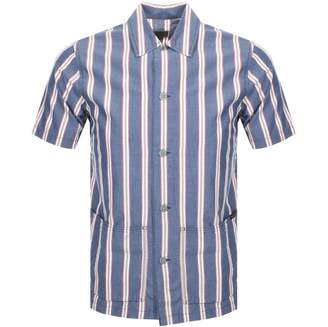 Nudie Jeans Short Sleeved Stripe Shirt Blue