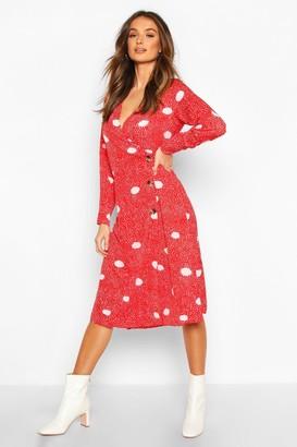 boohoo Spot Print Button Wrap Midi Dress