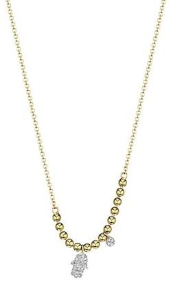 Meira T 14k Yellow Gold & Diamond Hamsa Pendant Ball Chain Necklace