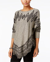 Style&Co. Style & Co. Patterned Fringe Poncho Sweater, Only at Macy's