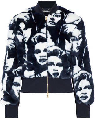 Stella McCartney Faces Printed Faux Fur Bomber Jacket