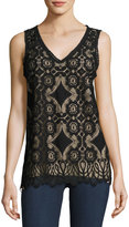 Max Studio Sleeveless Lace V-Neck Blouse, Black