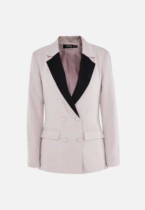 Missguided Mauve Co Ord Contrast Collar Grandad Blazer