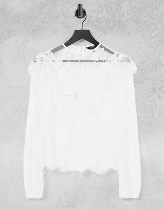 Lipsy ruffle lace top in white