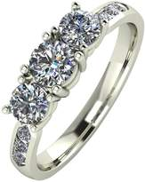 Moissanite 9ct Gold 1.00ct eq total Trilogy Ring with Channel Set Shoulders