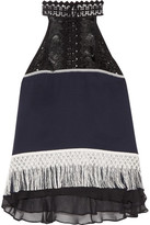 Jonathan Simkhai Fringed Guipure Lace And Chiffon-trimmed Silk-crepe Top - Midnight blue
