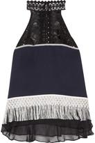 Jonathan Simkhai Fringed Guipure Lace And Chiffon-trimmed Silk-crepe Top