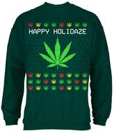 Old Glory Pot Leaf Rasta Happy Holidaze Holidays Ugly Christmas Sweater Mens Sweatshirt Forest MD