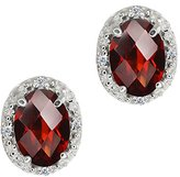Gem Stone King 1.65 Ct Checkerboard Red Garnet and White Diamond 14k White Gold Earrings