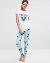 Boohoo Pug Love Pajama Set