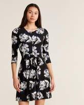 Tommy Hilfiger Black & Ivory Floral Jersey Dress