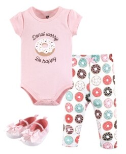 Hudson Baby Unisex Baby Bodysuit, Bottom and Shoes, Donut Worry 3-Piece Set, 0-3 Months (3M)