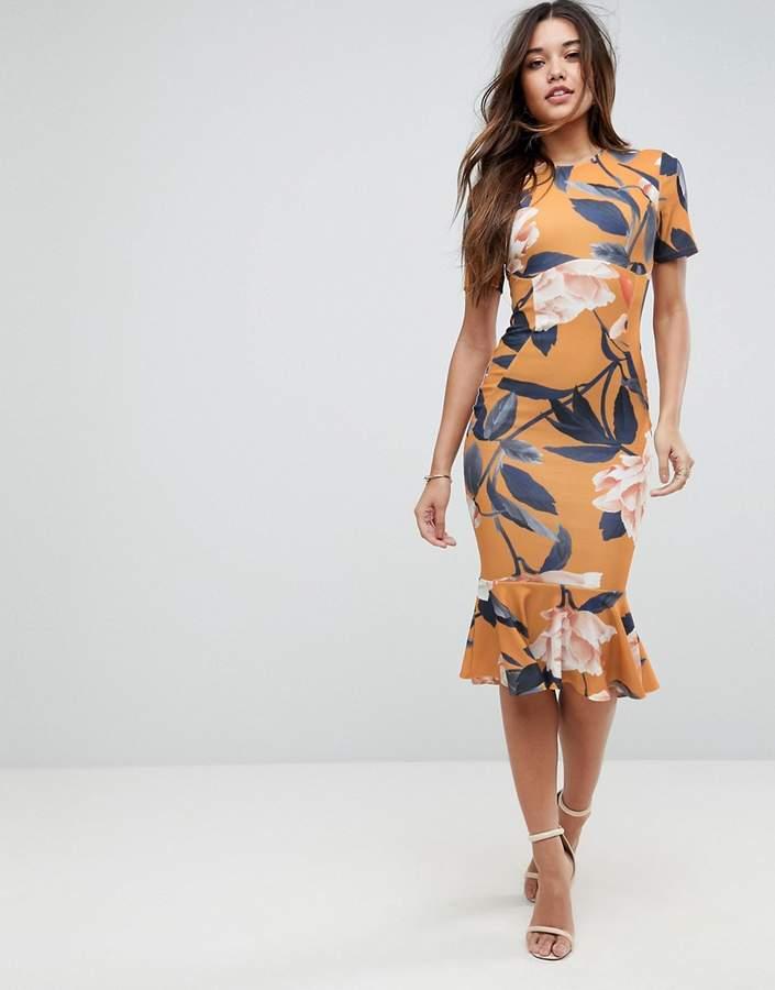 Asos DESIGN T-Shirt Floral Midi Dress With Pephem