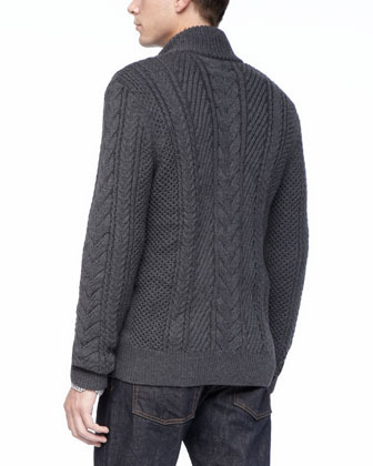 Vince Dark Gray Wool Cable Cardigan