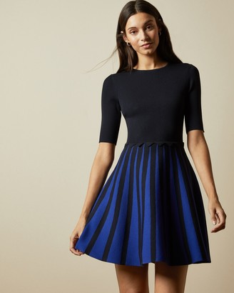 Ted Baker SALYEE Short sleeved knitted skater dress