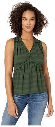 Lucky Brand Sleeveless Romantic Ruffle Top (Sycamore) Women's Clothing