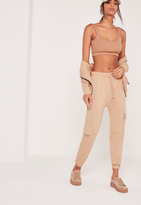 Missguided Side Pocket Cropped Jogger Nude