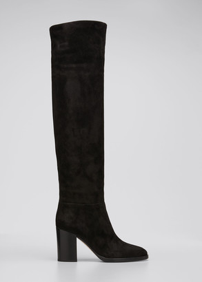 Gianvito Rossi 85mm Suede Knee Boots