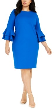 Calvin Klein Plus Size Tiered Bell-Sleeve Dress