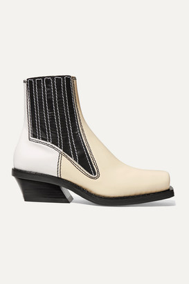 Proenza Schouler Paneled Leather Ankle Boots - Ecru