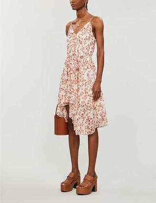 Maje Floral-print woven midi dress