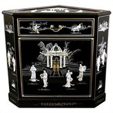 Oriental Furniture Asian Furniture and Decor 32-Inch Japanese Large Lacquered Oriental Corner Cabinet, Black with MOP