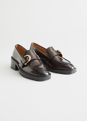 And other stories Buckled Leather Heeled Loafers
